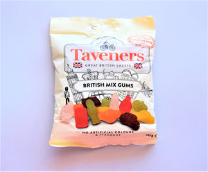 Packet of Taveners British mix gums, 165g made in the UK
