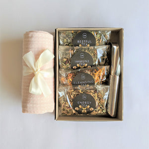 The Swirl Box Wellness Tea Gift Set with Tea towel