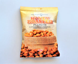 Packet of premium honey roasted peanuts, 175g made in Australia by The Happy Nut Co