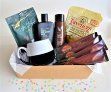 Load image into Gallery viewer, The Swirl Box Birthday or Father's day Gift Hamper for Him with men's hair & body wash and body mist, After Eight mint bites, gummies, 4 coffee sachets, and black & white mug