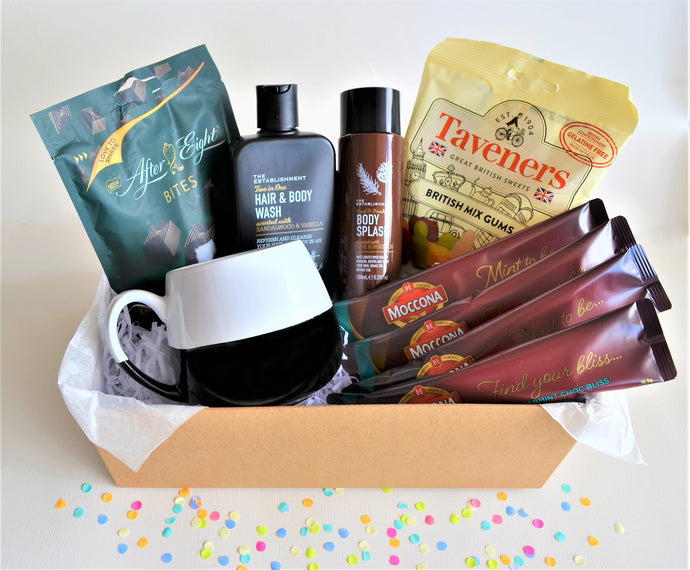 The Swirl Box Birthday or Father's day Gift Hamper for Him with men's hair & body wash and body mist, After Eight mint bites, gummies, 4 coffee sachets, and black & white mug