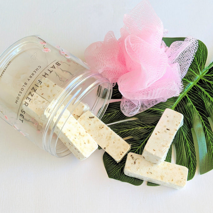 Cherry Blossom Bath Fizzers with Loofah in jar