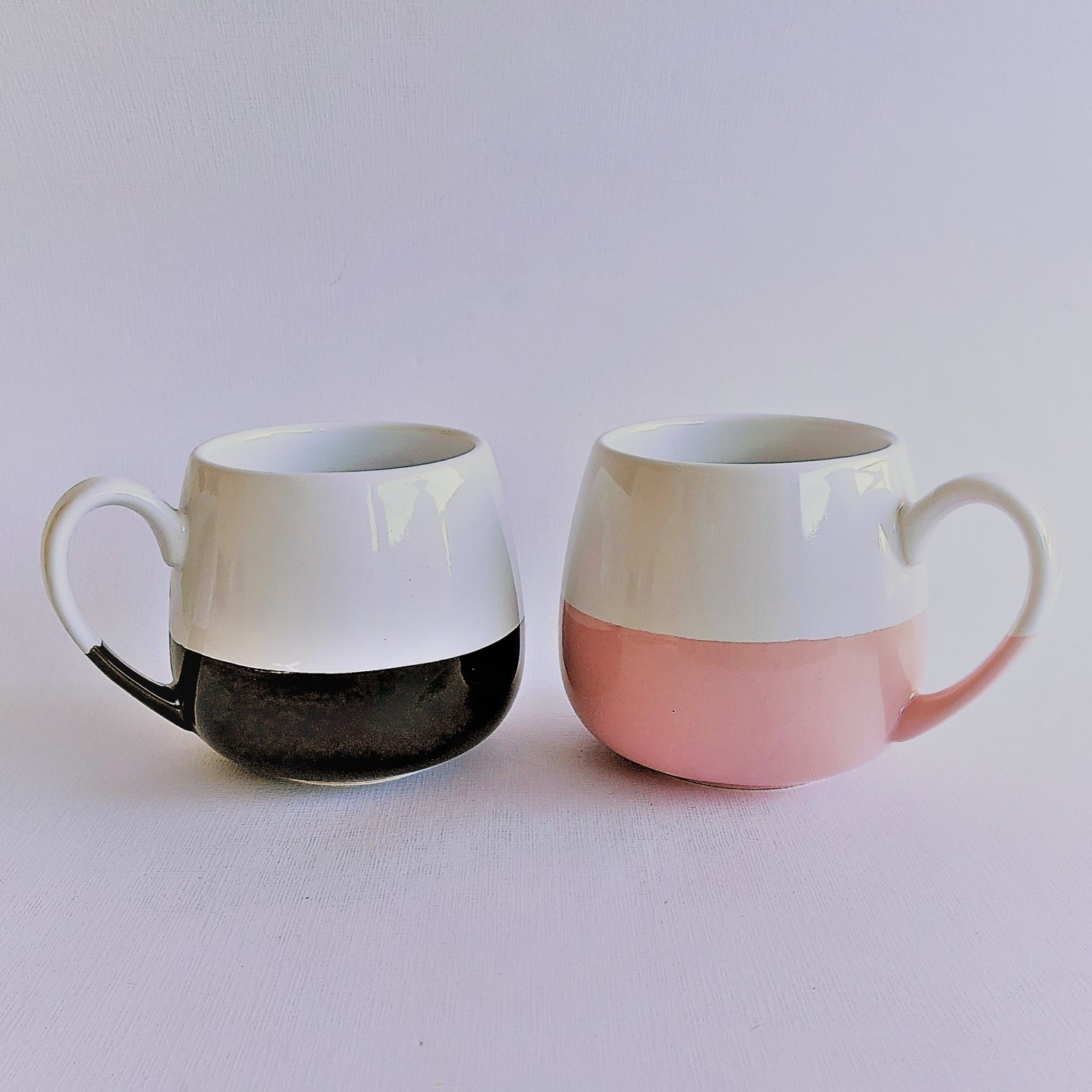 The Swirl Box handcrafted black/pink and white ceramic mug
