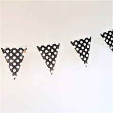 Load image into Gallery viewer, Black flag bunting with white polka dots