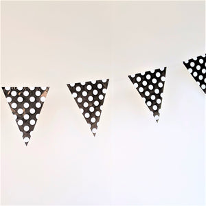Black flag bunting with white polka dots