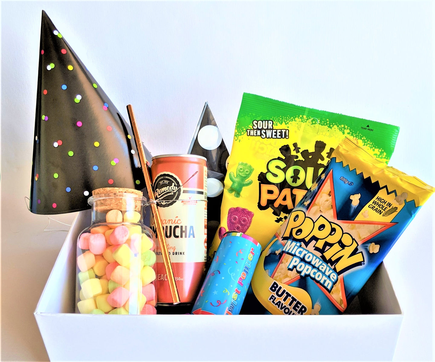 The Swirl Box mini Party Box with goodies