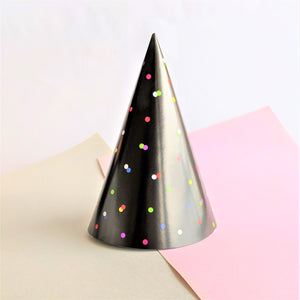 Black party hat with colourful polka dots