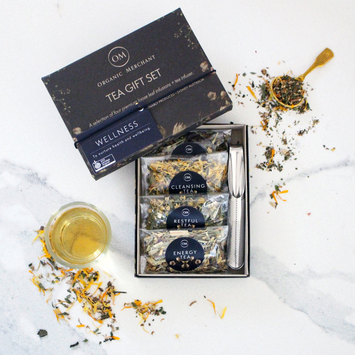 The Swirl Box Wellness Tea Gift Set - Loose Leaf and Certified Organic, comes in a Gift pack with Tea Infuser