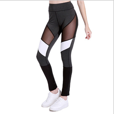 Sport Breathable Patchwork Mesh Women Sports Pants Women High Waist Fitness Leggings Wome