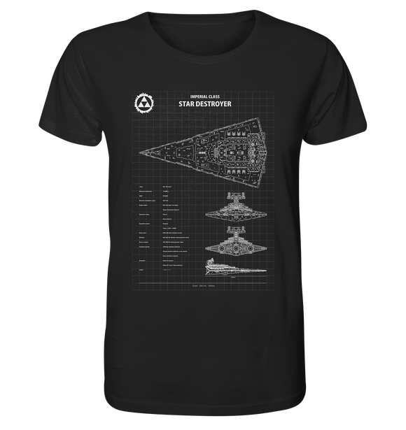 Imperial Class Star Destroyer - Blaupause - Organic Shirt - King Of Shirts
