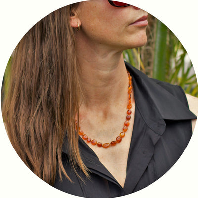 Adult Amber Necklace Bean - Cognac