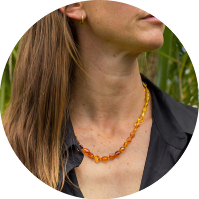 Adult Amber Necklace Bean - Rainbow