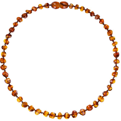 Baby Amber Teething Necklace Bud - Cognac