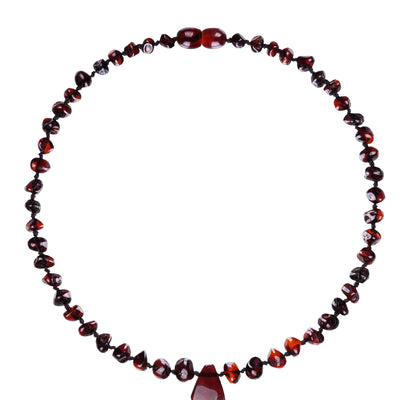 Baby Amber Necklace Pendant - Dark Cherry