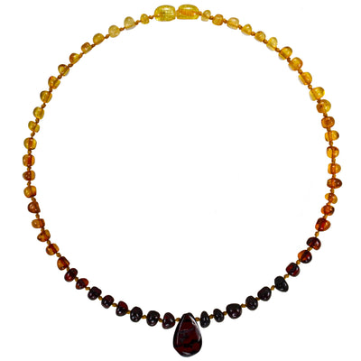 Baby Amber Necklace Pendant - Rainbow
