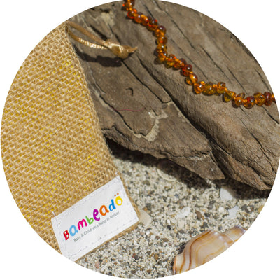 Child Amber Necklace Bud - Cognac