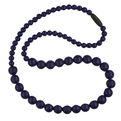 Silicone Teething Necklace, Round Bead - Navy