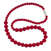 Silicone Teething Necklace, Round Bead - Scarlet