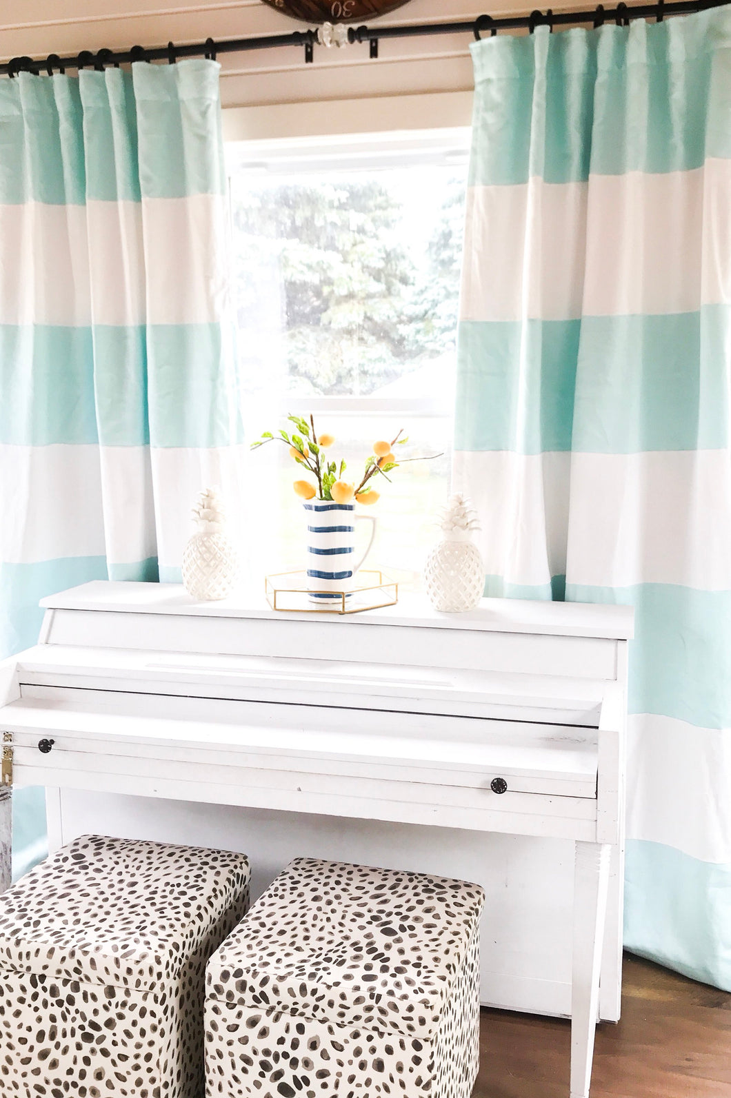 1 Pair Custom Sky Blue And White Striped Curtain Window Treatmeant S Frosting Home Decor
