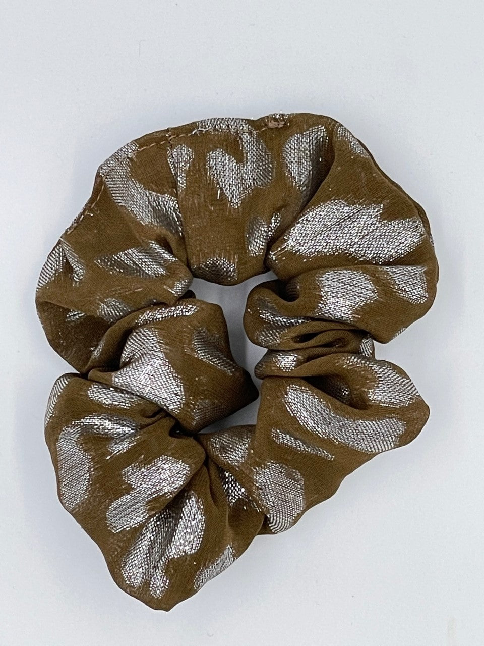 Splash Happy Silk Hair Scrunchie Leopard Metallic