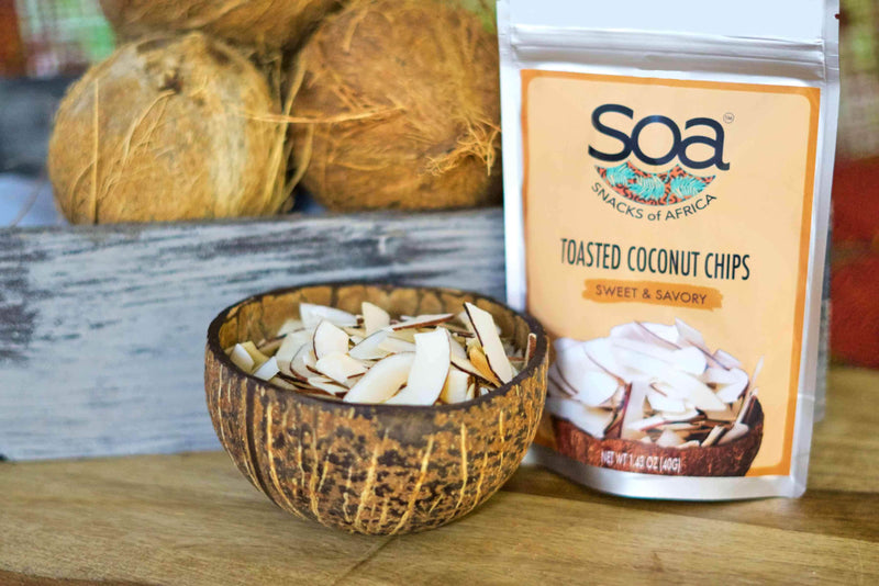 Snacks of Africa (SOA) Toasted Coconut Chips - Sweet & Savory (Pack of 5)