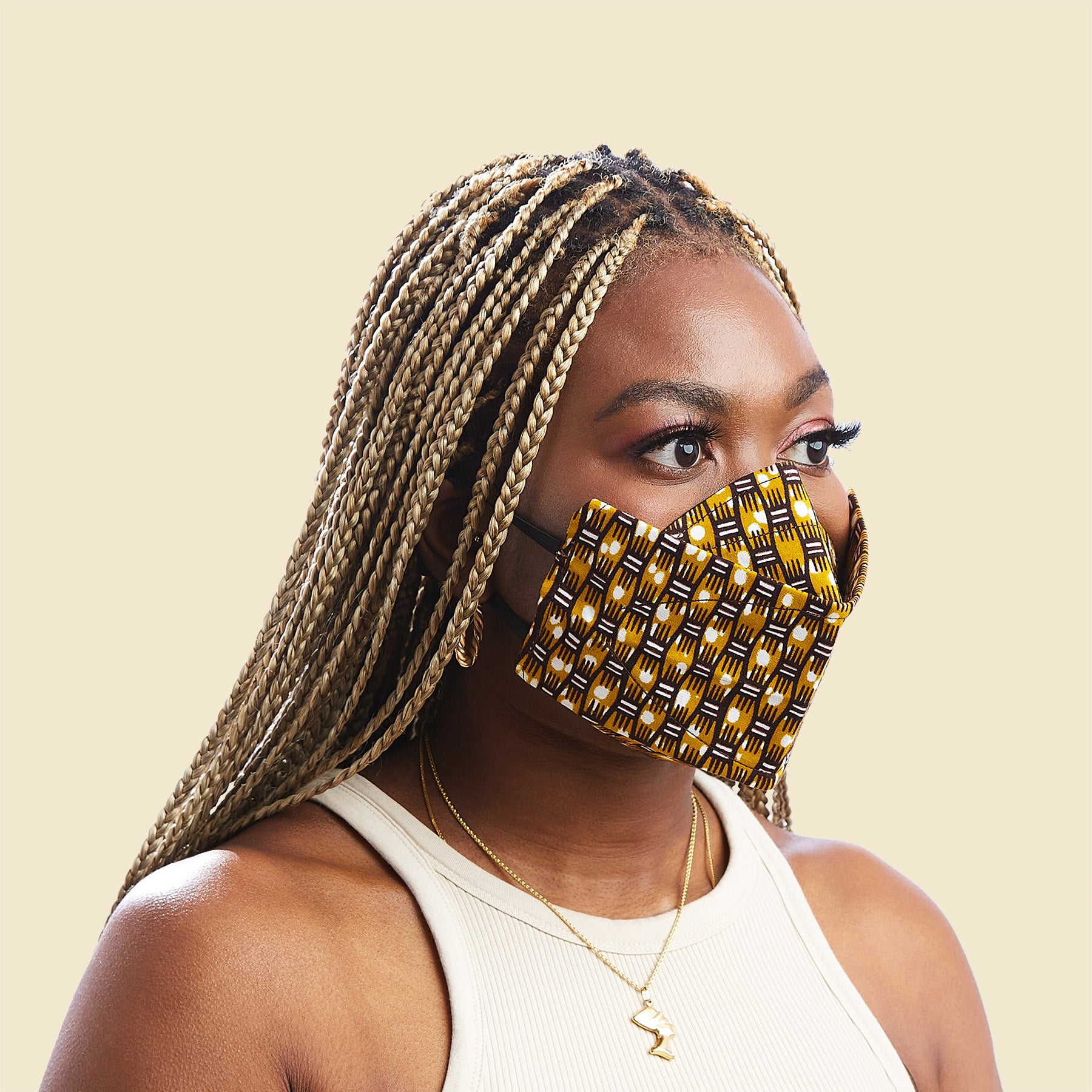 Kaiem African Print Winged Face Mask