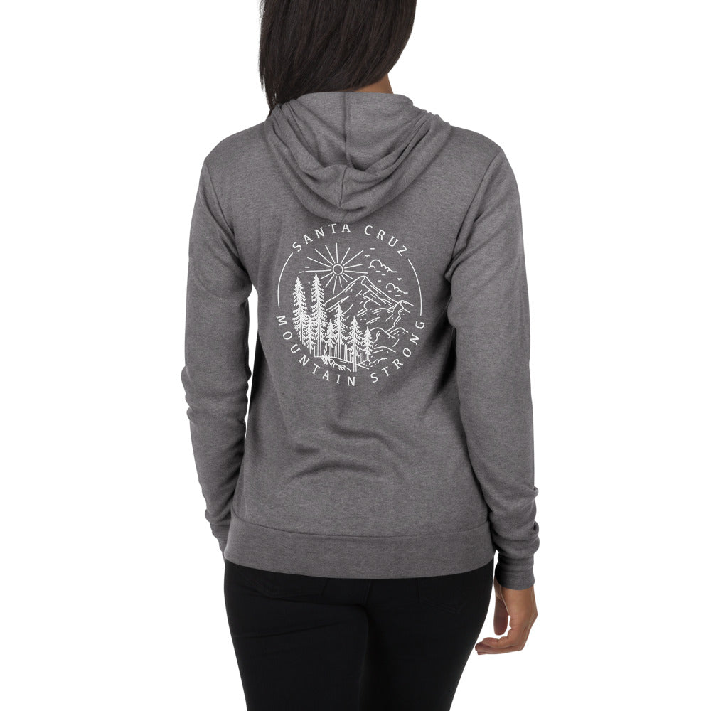 Santa Cruz Mountain Strong - Unisex Lightweight Zip Hoodie Sweatshirt