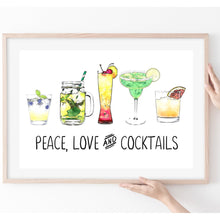 Load image into Gallery viewer, Peace Love and Cocktails Print