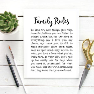 Family Rules Print, House Rules Poster