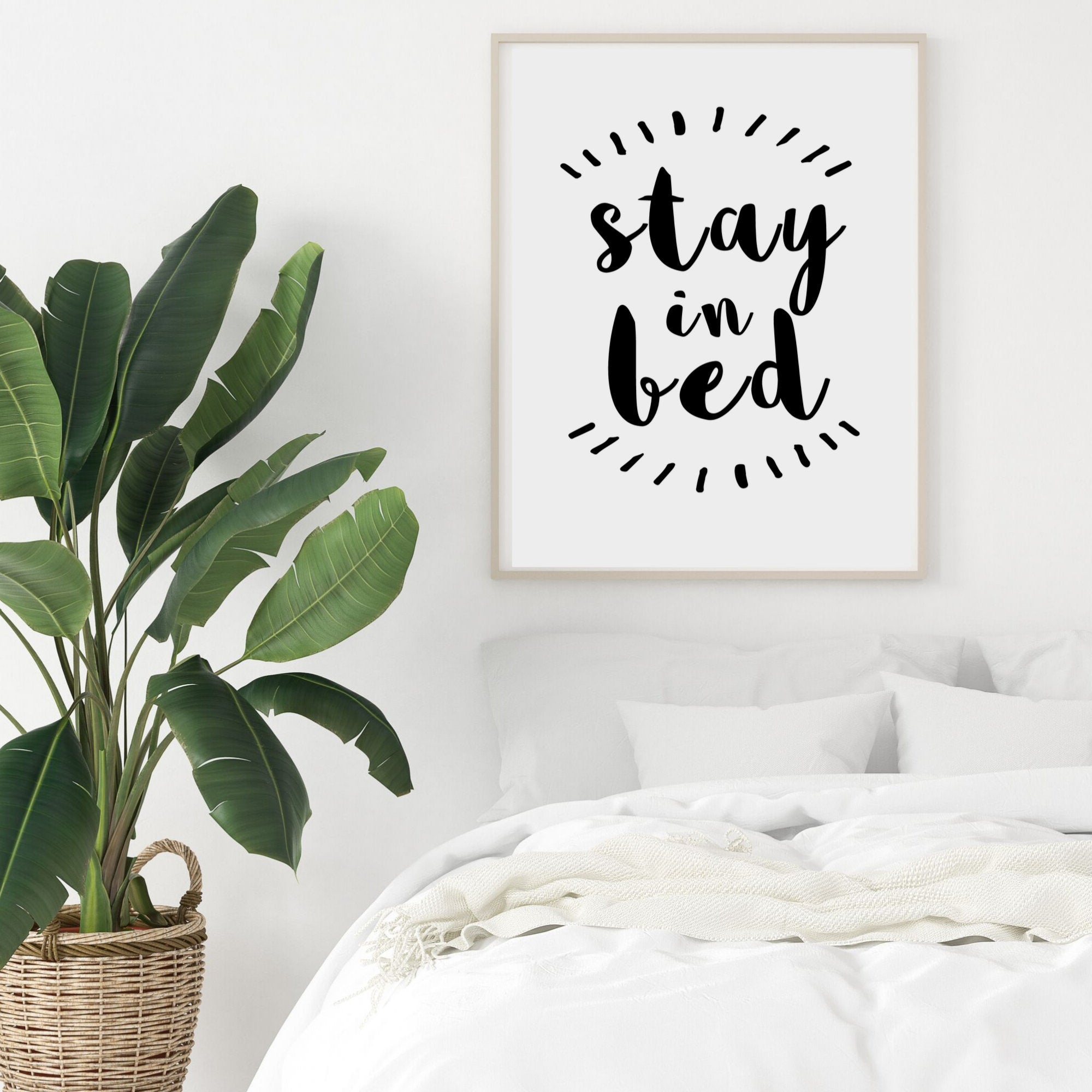 Image of: Stay In Bed Quote Print Bedroom Wall Decor College Dorm Room Decor Wattle Designs