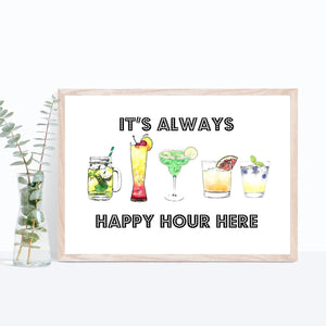 Happy Hour Cocktail Art Print