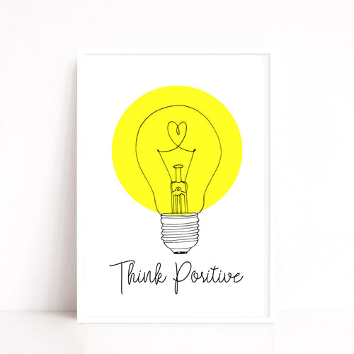 Think Positive Quote Print, Light Bulb Art Print