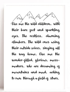 Wild Children Quote Print, Playroom Art