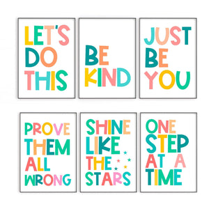 Colourful Kids Quote Prints, Set of Prints