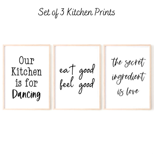 Kitchen Wall Art Set of 3 Prints