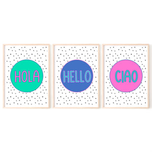 Hello Art Print, Hola Ciao Poster, Colourful Wall Art