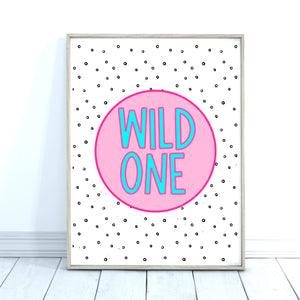 Wild One Quote Print, Kids Room Decor, Pink Wall Art
