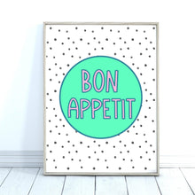 Load image into Gallery viewer, Bon Appetit Quote Print, Kitchen Wall Art