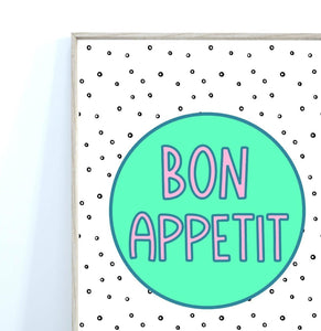 Bon Appetit Quote Print, Kitchen Wall Art