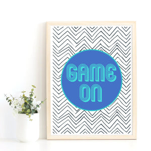 Game On Quote Print, Games Room Art Print