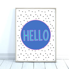 Load image into Gallery viewer, Hello Art Print, Hola Ciao Poster, Colourful Wall Art