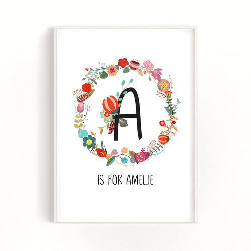 Personalised Baby Name Print, Baby Girl Gift