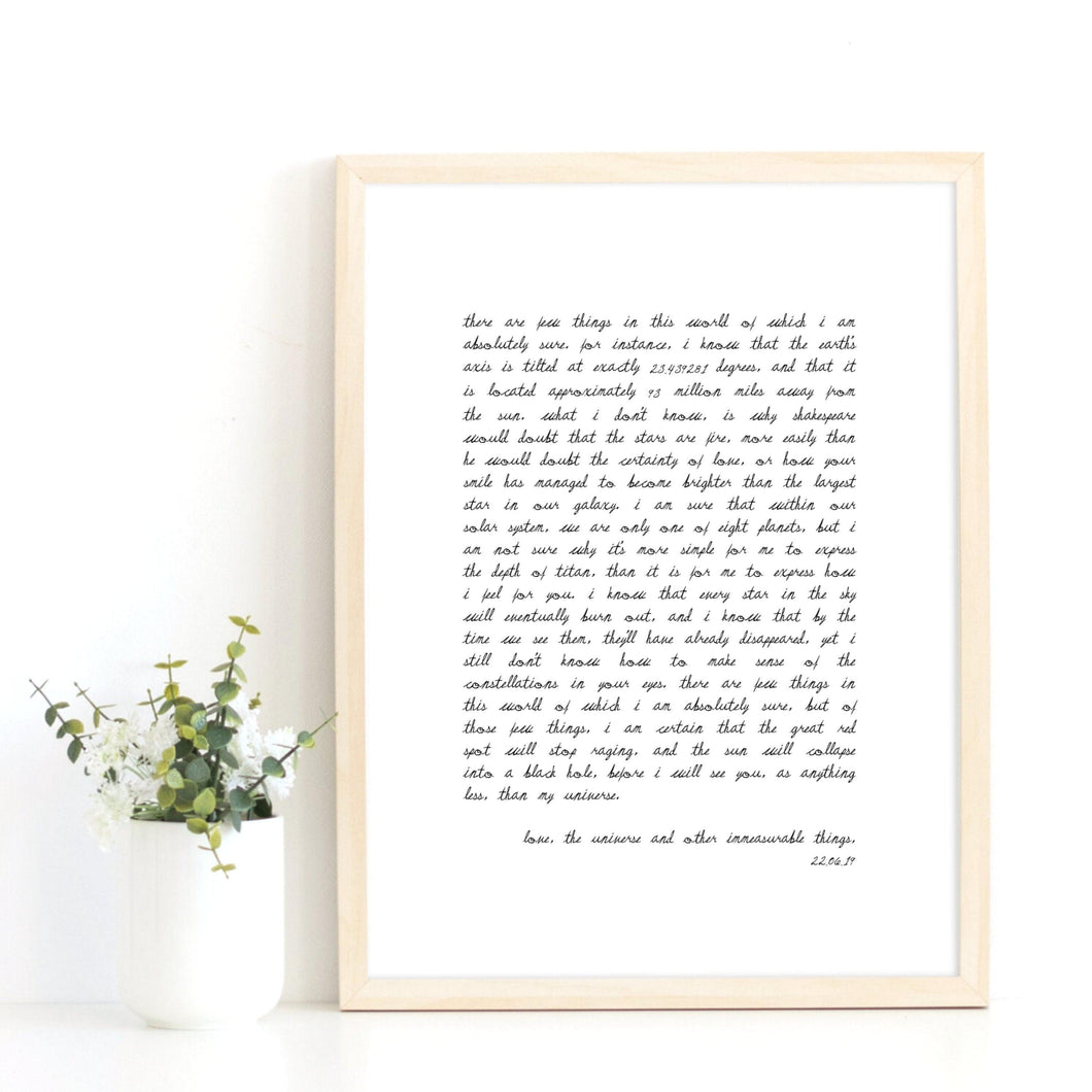 Custom Quote Print, Custom Text Print