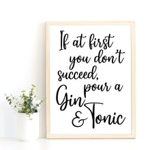 Load image into Gallery viewer, Gin Quote Print, Gin Lover Gift Idea, Kitchen Art