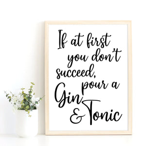 Gin Quote Print, Gin Lover Gift Idea, Kitchen Art