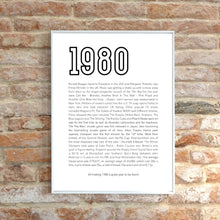 Load image into Gallery viewer, 40th Birthday Gift Idea, Year of Birth Print 1980