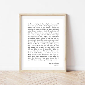 Custom Text Print, Custom Poem Print, Song Lyric Print