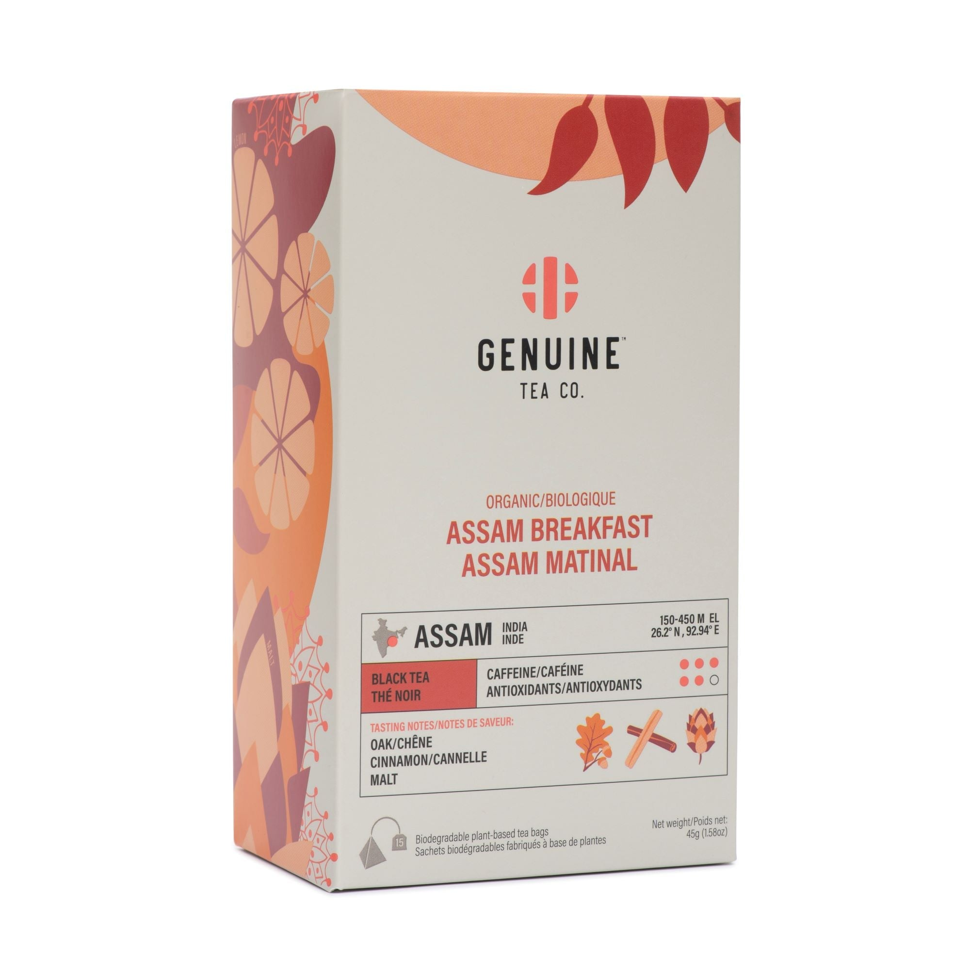 Organic Assam Breakfast Black Tea - 15 pyramid tea bags