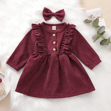 Load image into Gallery viewer, Corduroy Dress in Maroon