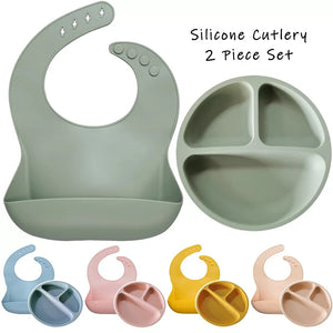 Silicone Feed Time - Bib + Plate Set - Little Boo Store